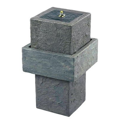 Cubic Stone Solar Floor Fountain