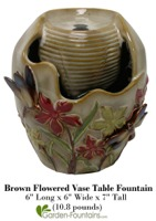 Brown Flowered Vase Table Fountain