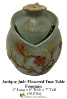Antique Jade Flowered Vase Table Fountain