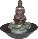 Garden Buddha Cobblestone Fountain w/ LED Light