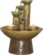 Four Tiered Tabletop Water Fountain with Candles
